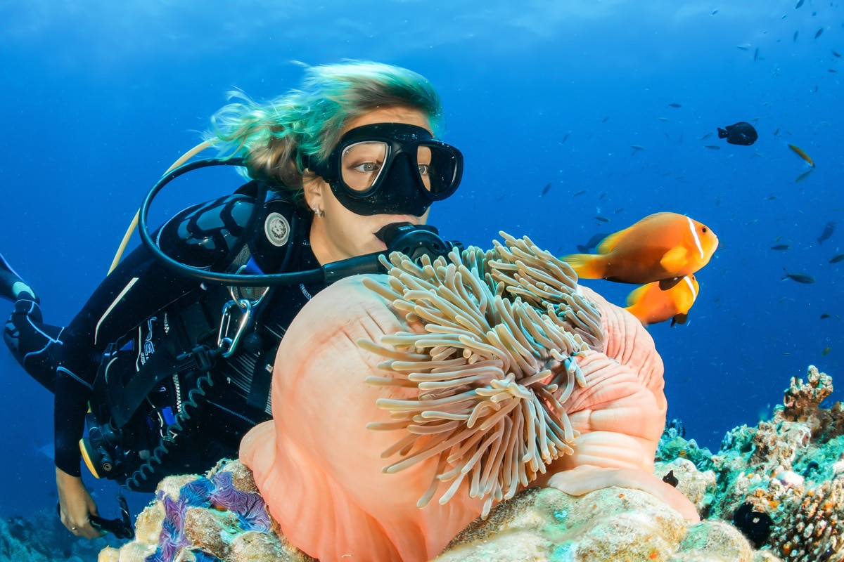 Lady Scuba Diving underwater with sea anemones and Clown fish