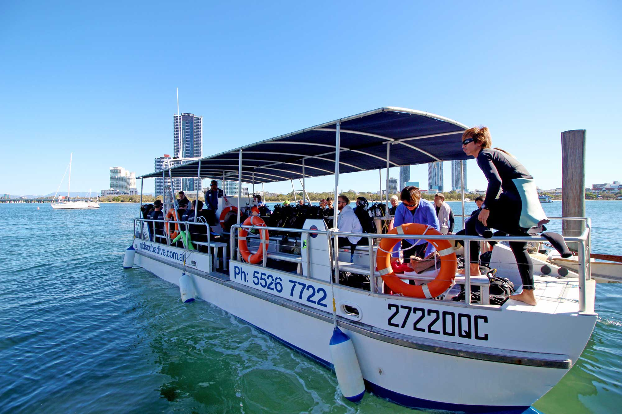 Gold Coast Scuba Diving Boat departing with customers onboard